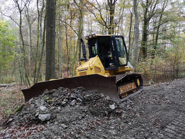 Planierraupe beim Waldwegebau